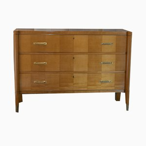 Lacquered Cherrywood and Brass Chest of Drawers from De Coene, 1940s