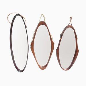 Espejos suecos ovales, años 50. Juego de 3
