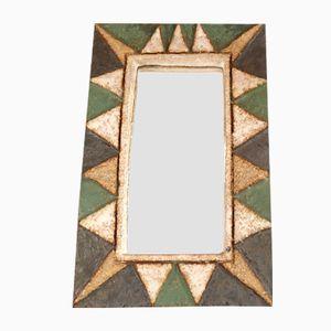 French Ceramic Rectangular Mirror by Les Argonautes, 1950s