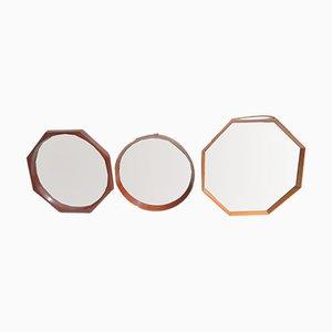 Espejos suecos octagonales, años 50. Juego de 3