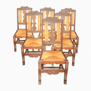 Sedie da pranzo bretoni in legno di quercia intagliato con schienale alto e sedute in giunco, anni '20, set di 6