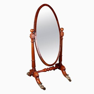 Antique William IV Mahogany Cheval Mirror, 1830s