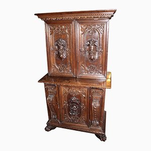 17th Century Italian Baroque Carved Walnut Cupboard