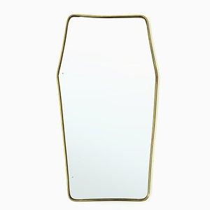 Specchio Mid-Century moderno in ottone, anni '50