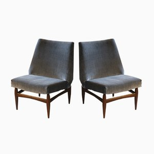 Italian Grey Velvet Side Chairs with Wooden Bases, 1950s, Set of 2