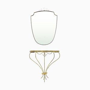 Consolle con specchio Mid-Century moderna in ottone, anni '50