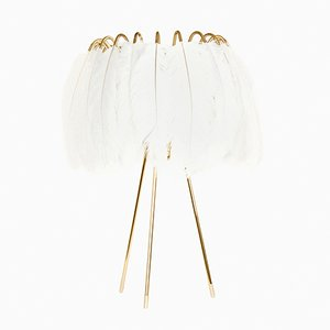 Feather Table Lamp in White by Young & Battaglia for Mineheart, 2018
