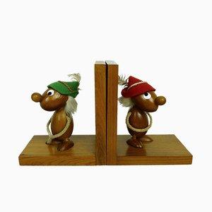 Serre-livres avec Figurines en Teck de Ciola, Italie, 1950s, Set de 2