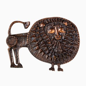 Bronze Lion Wall Ornament by Ottó Kopcsány for Hungarian Craftsmanship Company, 1970s