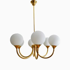 German Brass Chandelier with Opal Glass Balls from Kaiser Leuchten, 1970s