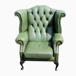 Green Leather Buttoned Back Wing Armchair with Studs, 1960s