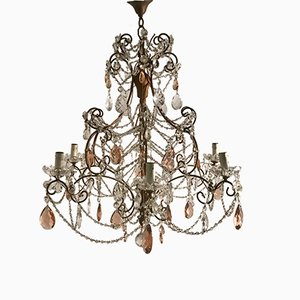 Vintage Large Crystal Beaded Chandelier with Pink Crystal Drops