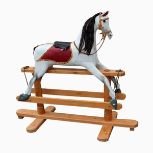 Large Painted Rocking Horse on Wooden Stand, 1940s