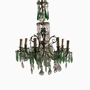Lustre Vintage en Cristal avec Pendants en Cristal Vert
