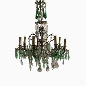 Vintage Kristallglas Kronleuchter mit grünen Kristallglastropfen