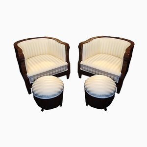 Art Deco Armchairs & 2 Ottomans, 1930s