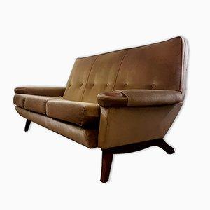 Vintage 3-Seater Angled Teak & Dralon Sofa, 1960s