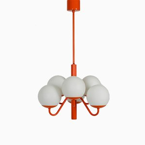 Opaline Glass Orange Ceiling Lamp from Kaiser Leuchten, 1960s