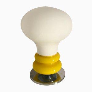 Lámpara de mesa Mid-Century de vidrio opalino, años 70