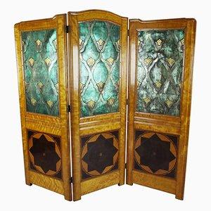 Dreifach klappbarer Jugendstil Satinholz Raumteiler mit geprägtem Leder, 1890er