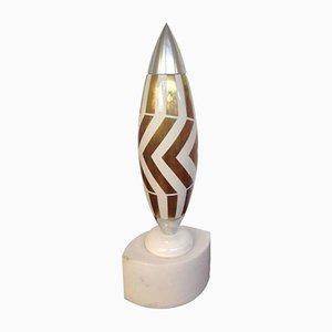 Vaso in marmo, alluminio, porcellana e oro di Alessandro Mendini per Design Gallery Milano, 1993