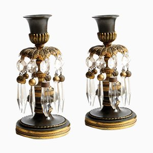 Regency Gilt & Patinated Bronze Candlesticks, 1830s, Set of 2