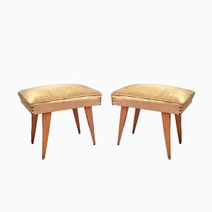 Wood & Velvet Stools, 1950, Set of 2