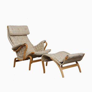 Mid-Century Pernilla Lounge Chair with Footstool by Bruno Mathsson for Dux