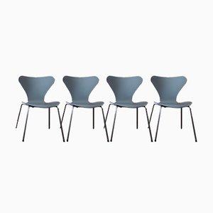 Grauer Modell 3107 Esszimmerstuhl von Arne Jacobsen für Fritz Hansen, 4er Set