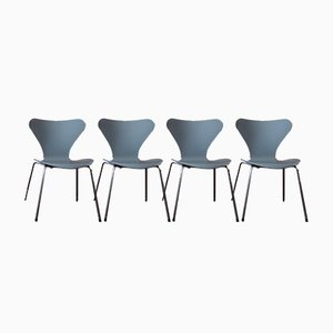 Model 3107 Grey Dining Chair by Arne Jacobsen for Fritz Hansen, Set of 4