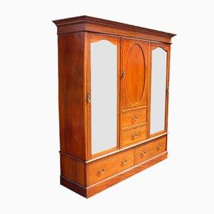 Espejo vintage grande de caoba con incrustaciones y dos puertas con espejo, años 20