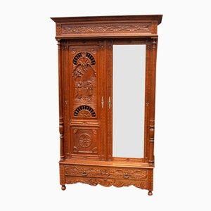 Carved Oak 2-Door Mirrored Wardrobe, 1920s