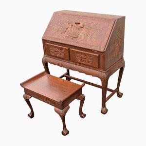 Scrivania e sgabello in legno padouk, anni '20