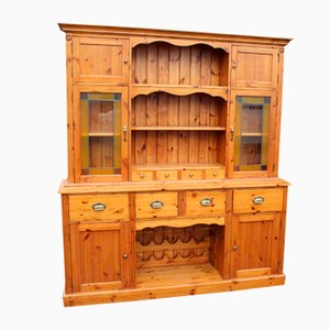 Vintage Large Pine Dresser with Rack, Spice Drawers & Cupboards
