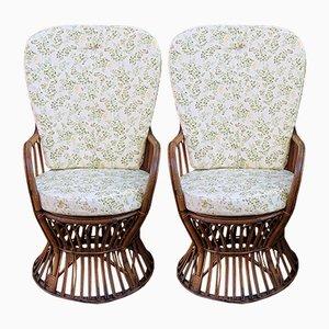 Korbgeflecht & Bambus Gartenstühle, 1950er, 2er Set