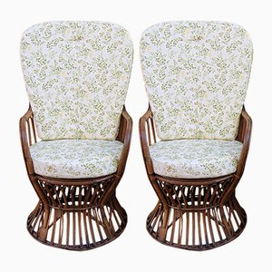 Wicker & Bamboo Garden Chairs, 1960s, Set of 2