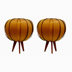 Pine Veneer Bentwood Sputnik Table Lamps, 1960s, Set of 2