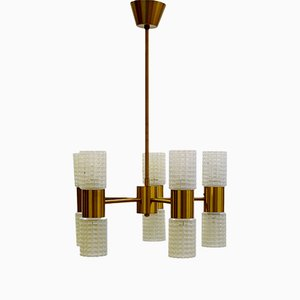 Lampadario in ottone e vetro di Ikea, anni '60