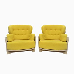 Yellow Denis Oak Armchairs by Guillerme & Chambron for Votre Maison, 1960s, Set of 2