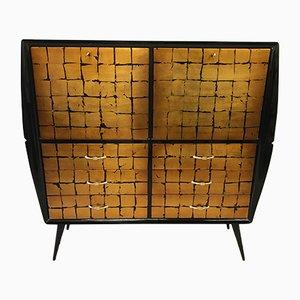 Italian Black & Gold Leaf Cabinet, 1950s