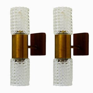 Vintage Brass and Glass Wall Sconces, Set of 2