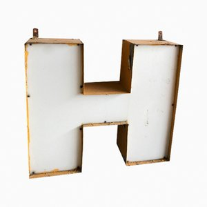 Vintage Industrial Hotel Olimpia Letter H Sign, 1950s