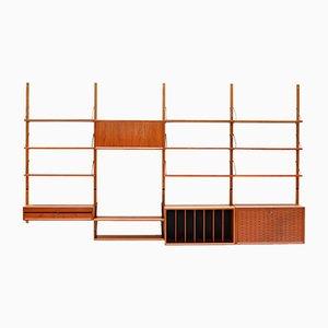 Mueble de pared modular Royal System danés de teca de Poul Cadovius para Cado, años 60