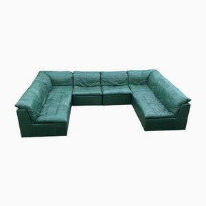 Mid-Century Modular Sofa with Green Leather Patchwork from Laauser, 1970s