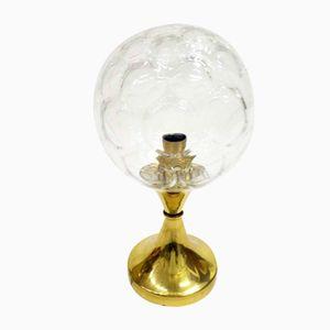 Lampe de Bureau Vintage en Cuivre avec Abat-jour en Verre Ciselé