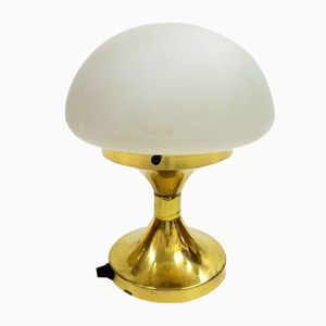 Vintage Brass Lamp with Milk Glass Shade