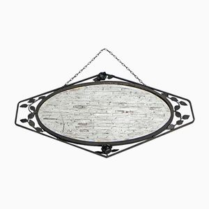 Art Deco Faceted Glass & Steel Frame Mirror