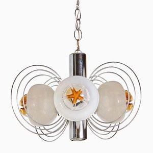 Lampada a sospensione a 4 luci in vetro di Murano, anni '70