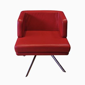 GCH Swivel Armchair in Red Leather & Chrome from Boss, 2004