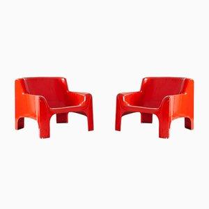 Gaia Armchairs in Red Fiberglass by Carlo Bartoli for Arflex, 1967, Set of 2